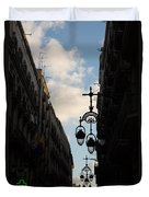 A Necklace Of Barcelona Streetlamps Duvet Cover
