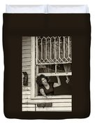 A New Orleans Greeting Sepia Duvet Cover