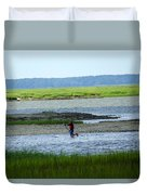 A Paddle Boarder Near The Cockspur Island Light House Duvet Cover