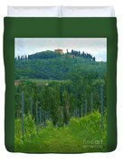 A Painting A Tuscan Vineyard And Villa Duvet Cover