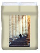 A Painting Alone Among The Vatican Columns Duvet Cover