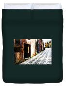 A Painting An Italian Street Duvet Cover