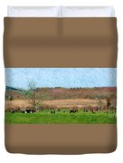 A Painting Cows Grazing And Newport Bridge Duvet Cover