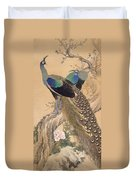 A Pair Of Peacocks In Spring Duvet Cover