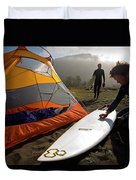 A Pair Of Surfers Prepare To Surf Duvet Cover