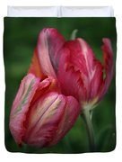 A Pair Of Tulips In The Rain Duvet Cover