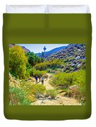 A Pause On Lower Palm Canyon Trail In Indian Canyons Near Palm Springs-california Duvet Cover