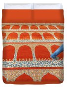 A Person Walking Over The Colourful Duvet Cover by Keith Levit