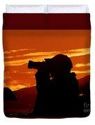 A Photographer Enjoying His Work Duvet Cover