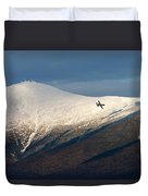 A Plane Flies In The Distance Over Mt Duvet Cover