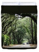 A Pretty Tree Covered Road Somewhere On Hilton Head Island Duvet Cover