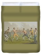 A Prize Fight Aquatinted By I Clark Duvet Cover by Henry Thomas Alken