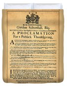 A Proclamation Of Thanksgiving Duvet Cover by Digital Reproductions