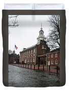 A Rainy Day At Independence Hall Duvet Cover