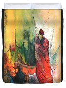 A Red Dog In Morocco Duvet Cover