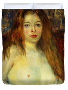 A Red-haired Model Duvet Cover by William James Glackens