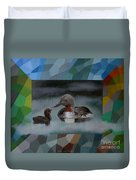 A Red-throated Diver And The Chick Duvet Cover