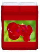A Red Wet Rose Duvet Cover