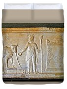A Relief In Bergama Museum-turkey Duvet Cover