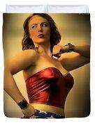 A Wondrous Retro Woman Duvet Cover