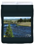 A River Runs Through Yellowstone Duvet Cover
