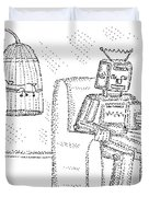 A Robot Sits Reading In A Chair Duvet Cover