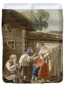 A Russian Peasant Family, 1823 Duvet Cover