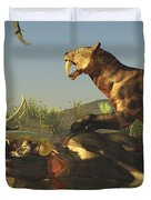A Saber Tooth Cat Attacks A Woolly Duvet Cover
