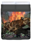 A Saber-toothed Tiger Running Away Duvet Cover