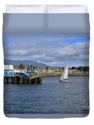 A Sailing Yacht Passes The Wharf In Sidney Harbour Duvet Cover