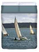 A Sailing Yacht Rounds A Buoy In A Close Sailing Race Duvet Cover