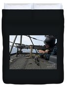 A Sailor Fires An M-240b Machine Gun Duvet Cover by Stocktrek Images