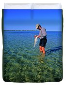 A Salt Water Fly Fisherman Catches Duvet Cover