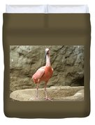 A Scarlet Ibis Stands Perched On A Rock Duvet Cover