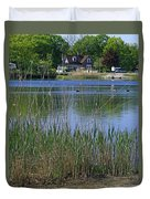 A Scenic View Of Round Pond  At The United States Military Academy Duvet Cover