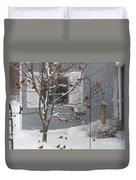 A Sea Of Cardinals At The Feeder Duvet Cover