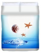 A Shell And Two Starfish Floating Duvet Cover