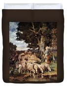 A Shepherdess With Her Flock Near A Stream Duvet Cover