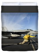 A Shooter Signals To Launch An Fa-18e Duvet Cover