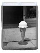 A Sidewalk Ice Cream Cone Duvet Cover