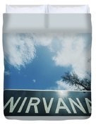 A Sign That Reads Nirvana Duvet Cover