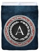A - Silver Vintage Monogram On Blue Leather Duvet Cover