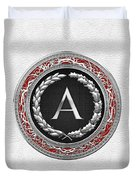 A - Silver Vintage Monogram On White Leather Duvet Cover