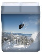 A Skier Doing A Front Flip Into Powder Duvet Cover