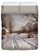 A Sleigh Ride Through A Winter Landscape Duvet Cover by Peder Monsted