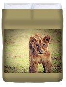 A Small Lion Cub Portrait. Tanzania Duvet Cover