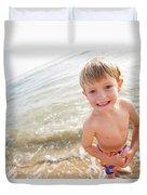 A Smiling Young Boy Enjoys A Sunny Duvet Cover