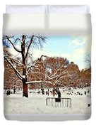 A Snow Day In Central Park Duvet Cover