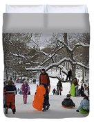 A Snow Day In The Park Duvet Cover