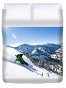 A Snowboarder Making Some Fresh Tracks Duvet Cover